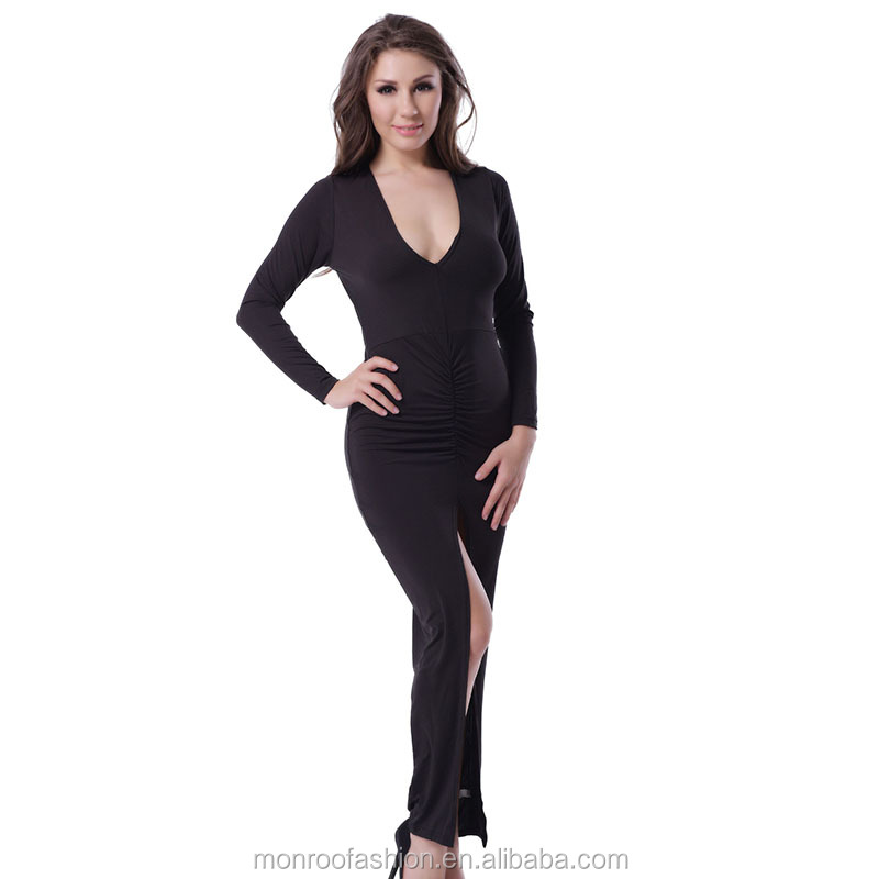 monroo Hot selling women long sleeve bodycon dresse v-neck sexy maxi dresses long party spread out the fork elegant long dress