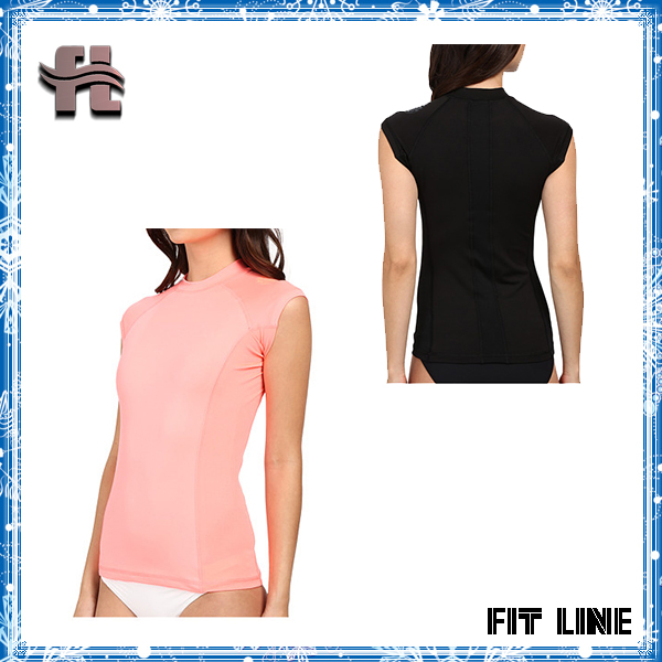 polyester cap sleeve rash guard womens surf t shirt