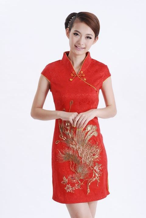 853682bbd Get Quotations · New Red Chinese Women's Cotton Mini Cheongsam Embroidery  Qipao Wedding Party Dress Peacock Pattern Size S M L