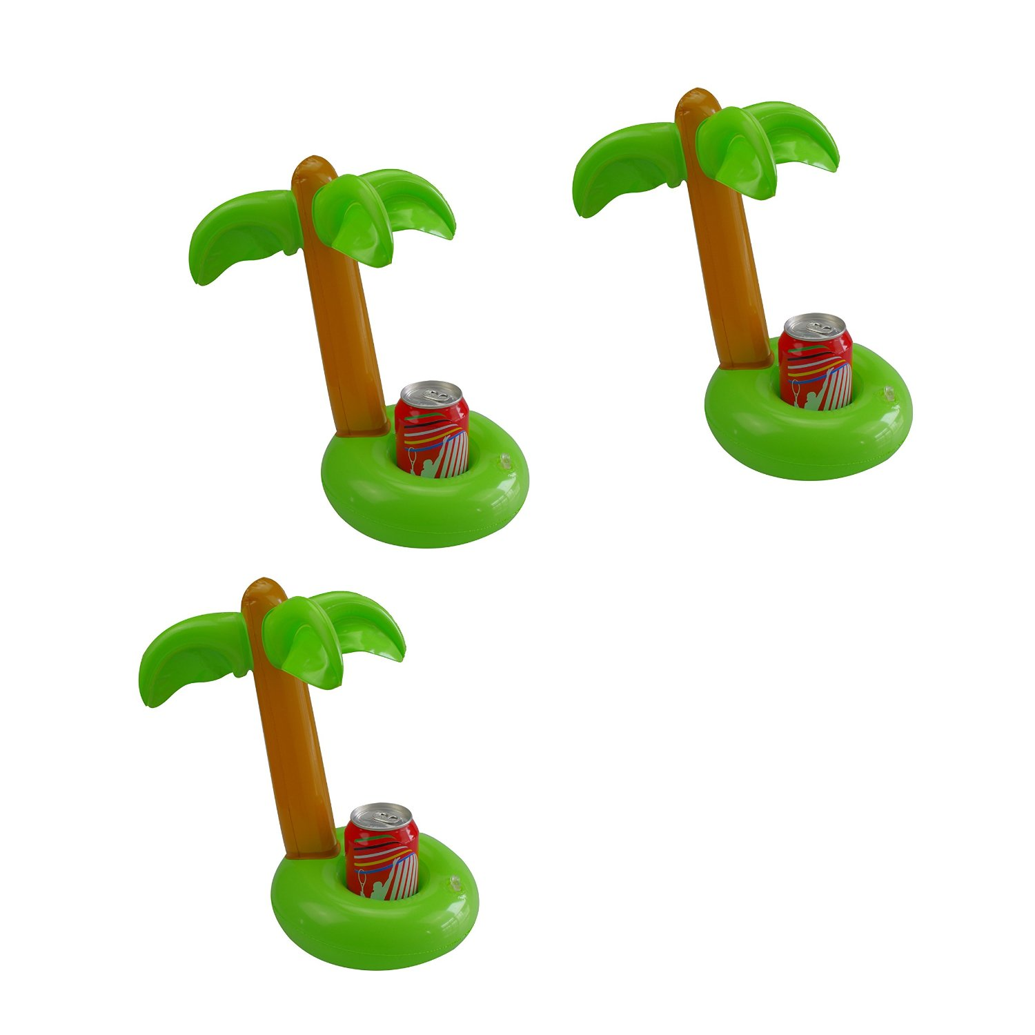 Mirenlife Inflatable Palm Island Drink Holders, Floatation Devices, Inflate Floating Coasters, 3 Pack