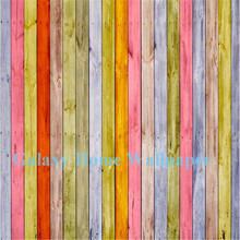 color del arco iris del grano de madera decorativa mural del papel pintado d