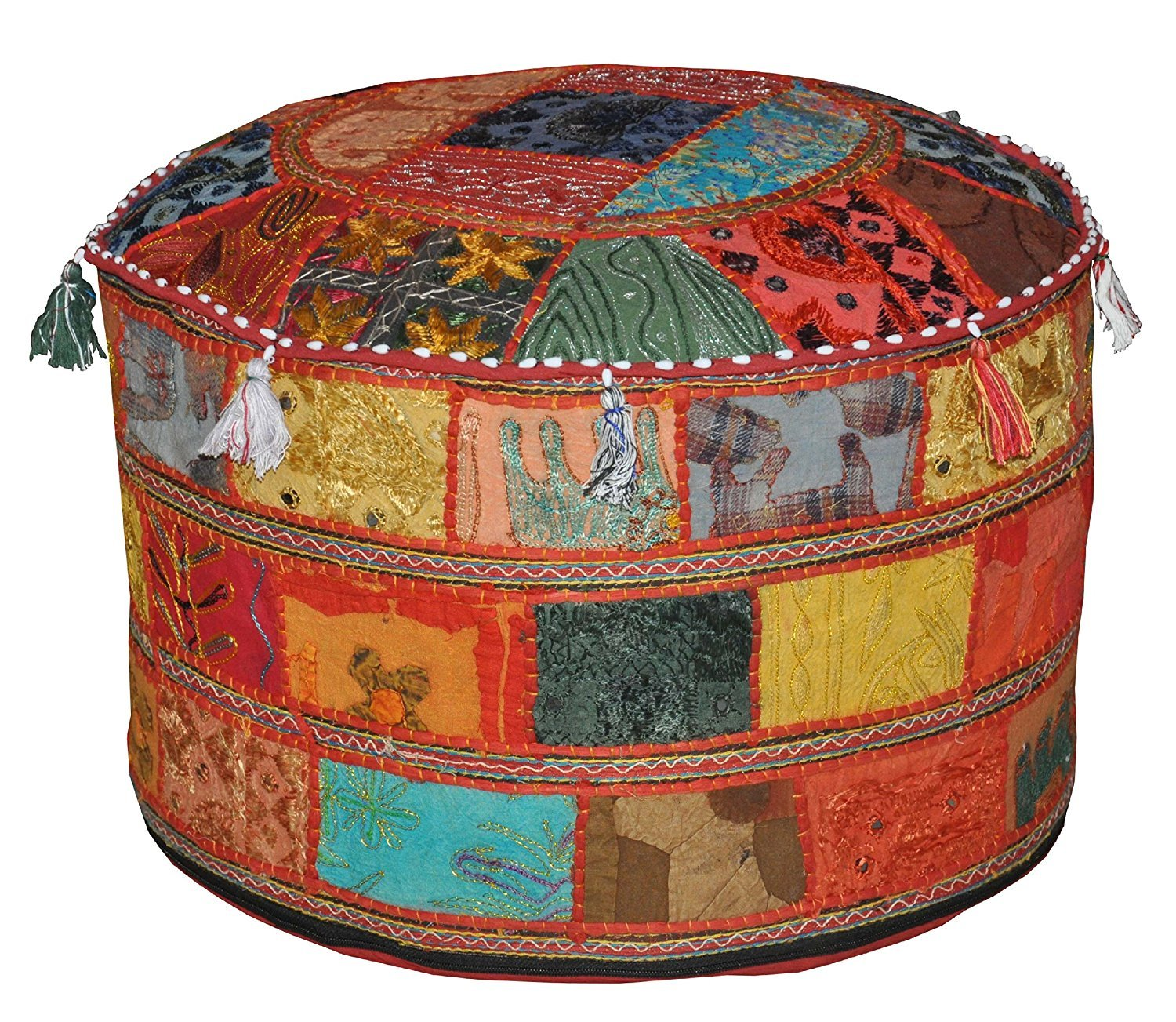 """Indian Living Room Pouf, Foot Stool, Round Ottoman Cover Pouf,Traditional Handmade Decorative Patchwork Ottoman Cover,Indian Home Decor Cotton Cushion Ottoman Cover 22x15""""inches"""
