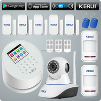 New Popular Product Kerui W2 TFT Color Display WIFI PSTN+GSM Wireless Home Security Alarm System with HD IP Camera