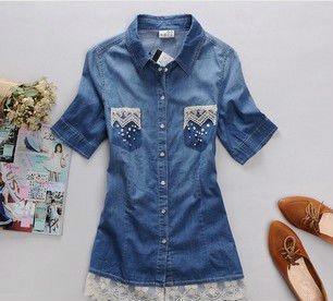 37e8cbc32cea2 Moda Al Por Mayor Mujeres Jeans Camisas - Buy Camisas Y Camisas De ...