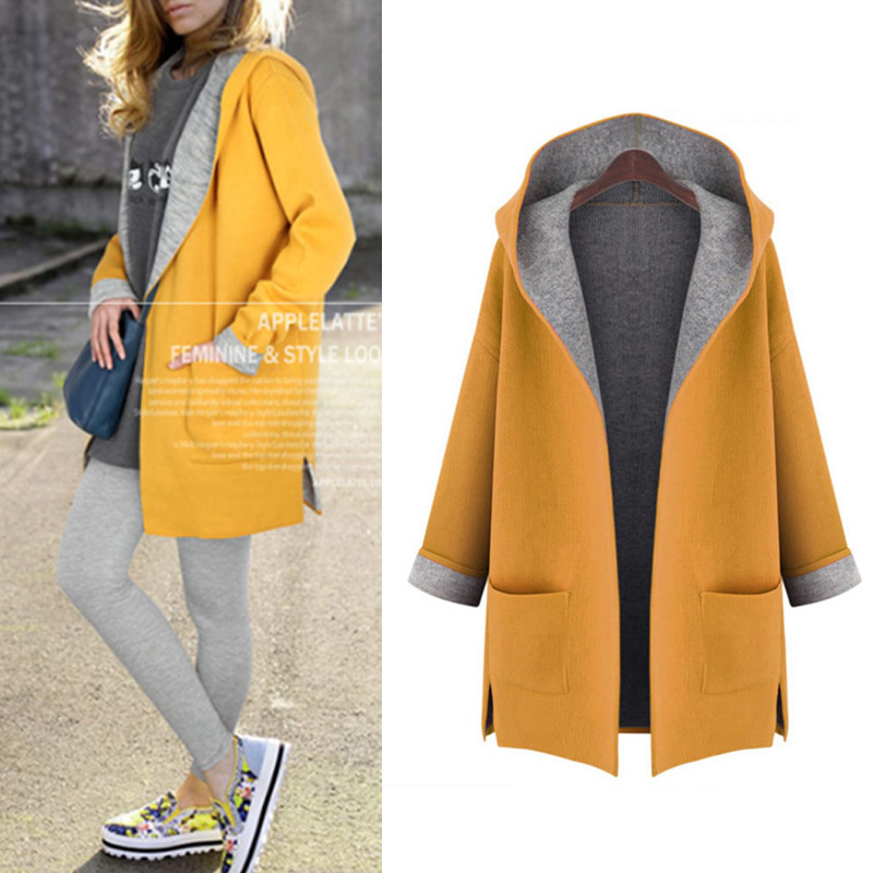 YX Fashion 2019 Latest Winter Wears For Woman Woollen Hooded Windbreaker Plus Size