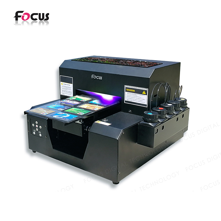 Multicolor A4 flatbed uv curing inkt reliëf drukmachine pvc card printer