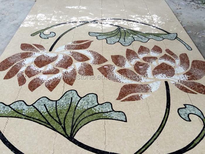 Pola Bunga Teratai Desain Mosaik Marmer Lantai Medali Buy Bunga
