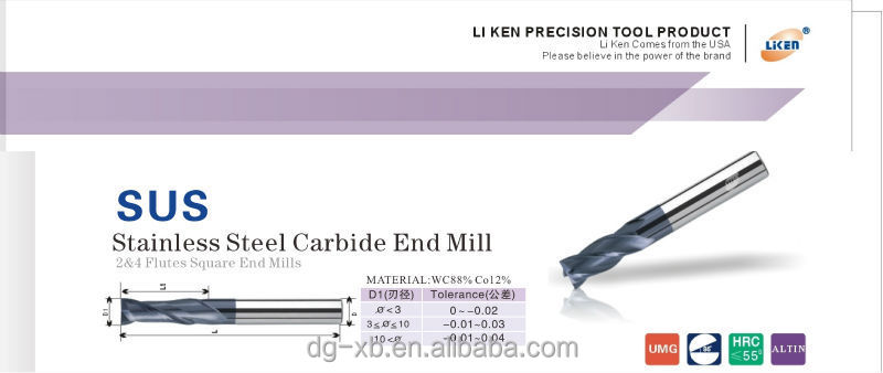 2015 Liken Sus Solid Carbide End Mill Cutting Data