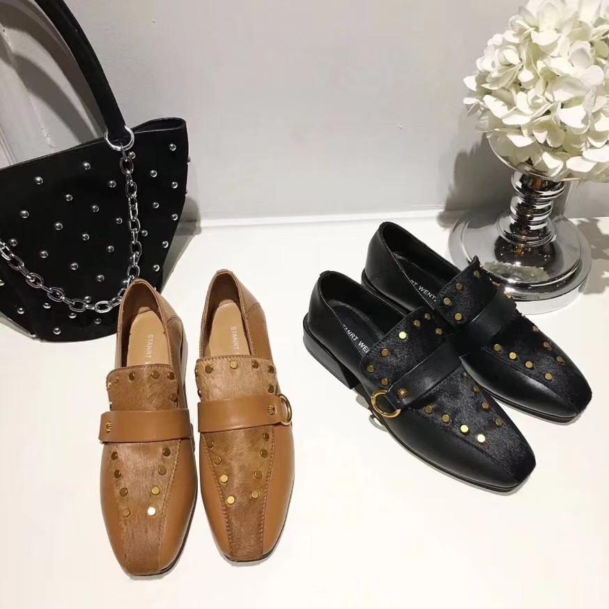 slip women's temperament on cowhide shoes heel rivet thick New with deep design wild zq4wAPw6