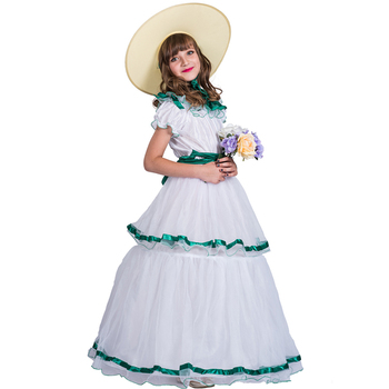 Carnival Party Fancy Dress White Belle Princess Cosplay Costume For