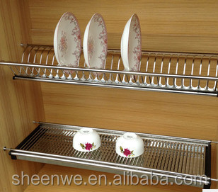 Kitchen Cabinets Design Two Tiers Stainless Steel Dish Drying Rack