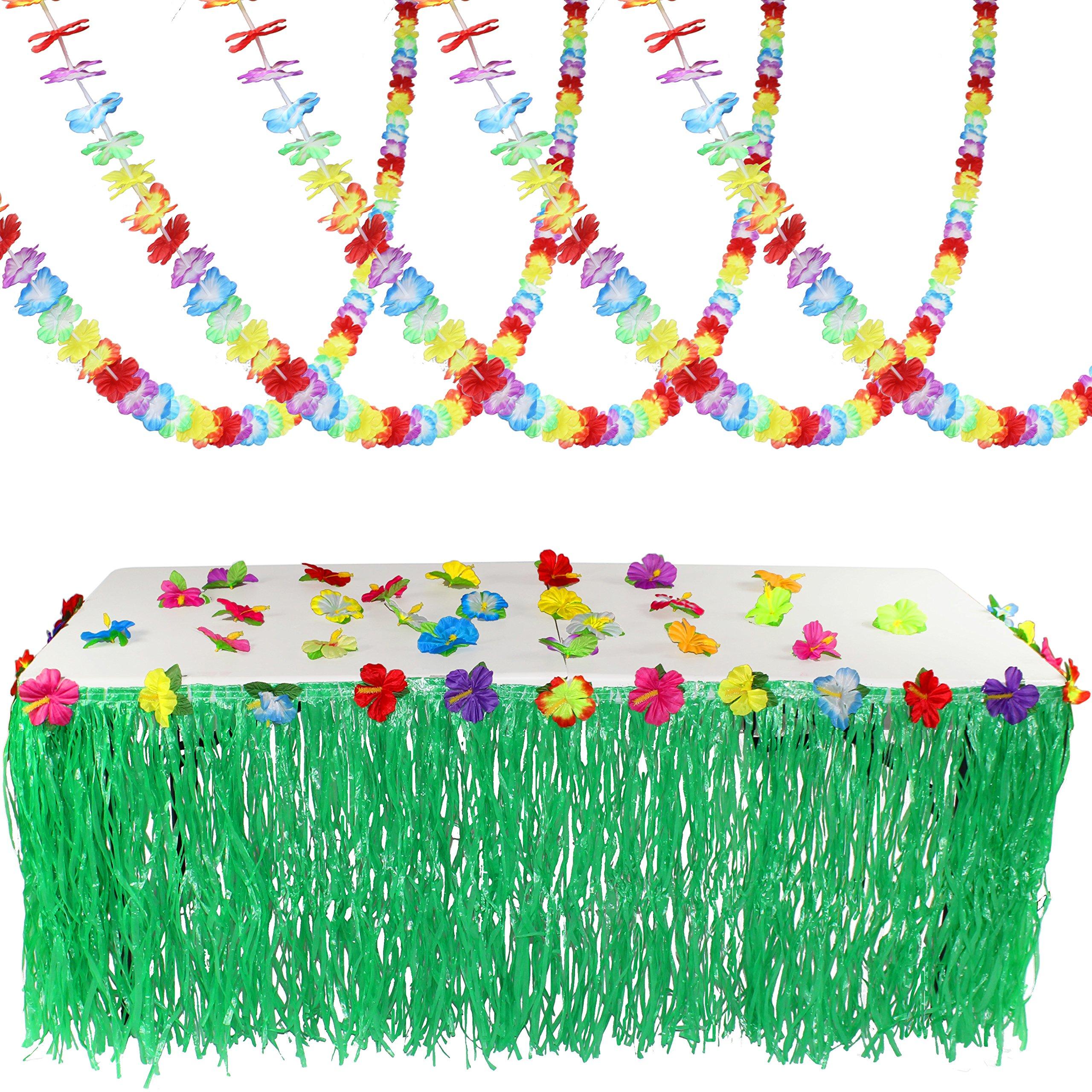 Joyin Toy Luau Tropical Hawaiian Party Decoration Set Including 100 ft Flower Lei Garland, 36 Hibiscus Flowers and 9 ft Luau Table Skirt