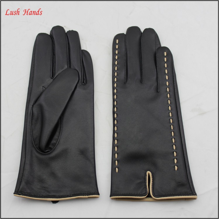 ladies sheepskin leather hand gloves winter with lash pole