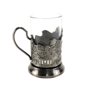 custom logo Old-Fashioned Podstakannik Russian Drinking hot tea glass metal cup holder