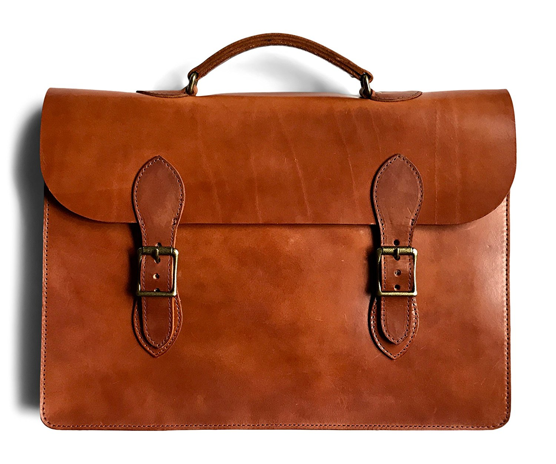 45ad8d87904a Get Quotations · Jackson Wayne Vintage Leather Attache Laptop Case