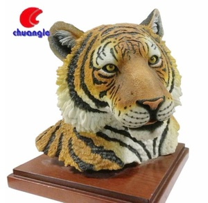 Resin Hotel home decoration realistic animal Tiger head figure sculpture gift
