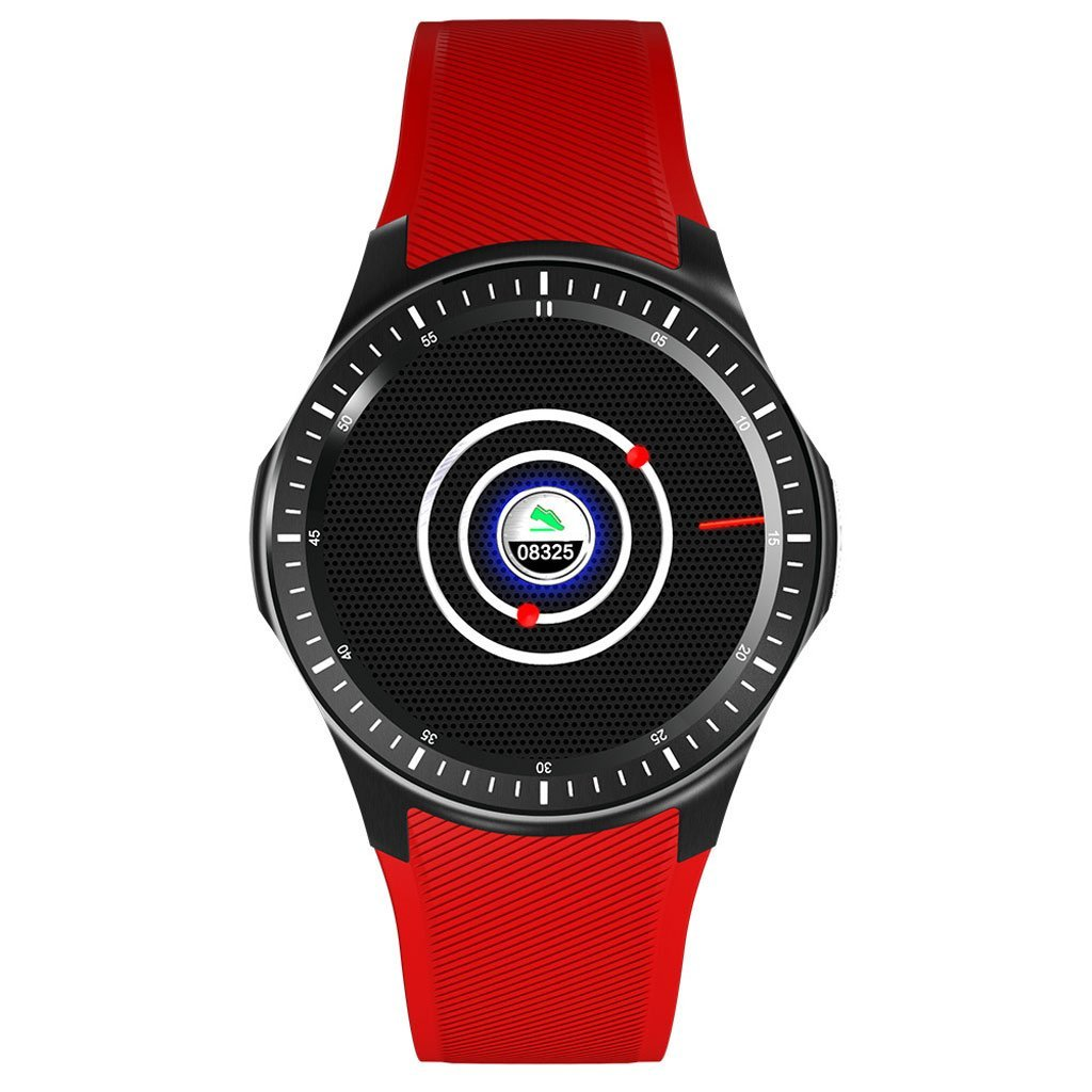 smart watch WIFI Heart rate monitoring Step count Weather forecast GPS positioning 3G Andrews IOS DM368 (black White Red) (Color : Red)