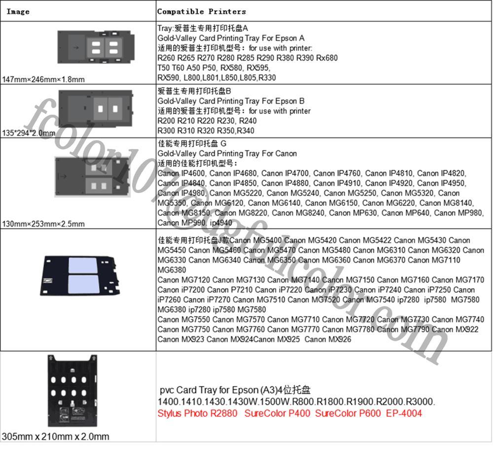Plastic Pvc Id Card Printer Tray For Epson L800 L805 L850 R390 R290 T50 T60  - Buy Plastic Tray For Epson L805,For Epson L805 Printer Tray,Id Card