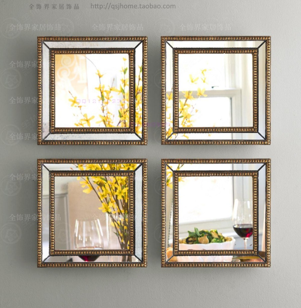 mirrored wall decor fretwork square wall mirror framed wall art set of four square wall. Black Bedroom Furniture Sets. Home Design Ideas