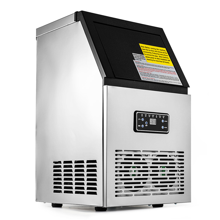 Commercial Ice Maker 160W Stainless Steel Ice Cube Maker Machine 88LBs Ice Making Machine for Home Supermarkets Cafes Bars
