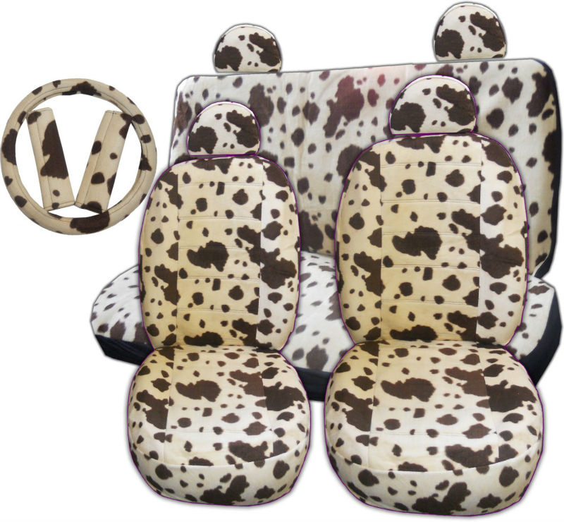 11 Pieces Tan Brown Cow Print Low Back Front Car Seat And Rear Bench Cover With Head Rest Set