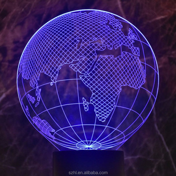Acrylic earth shape 3D led night lights