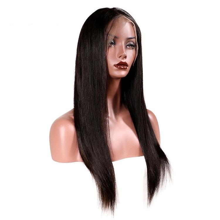 Visone frontal del merletto parrucca raw capelli non trattati del virgin raw capelli indiani parrucche anteriore del merletto parrucca del merletto dei capelli umani grezzi originale con la frangetta