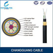 China manufacturer Outdoor Dielectric single jacket ADSS non-metallic fiber optic