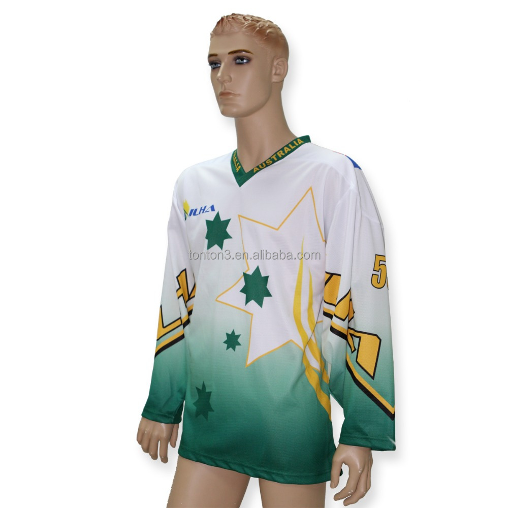 Professional unique team green sublimation inline female hockey jerseys