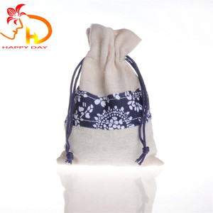 Custom Printed Retro Style Gift Bag Jewelry Pouch Cotton Drawstring Bag Wholesale