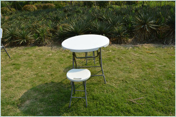 Small Plastic Folding Round Table And Chair/adjustable Height Folding Table