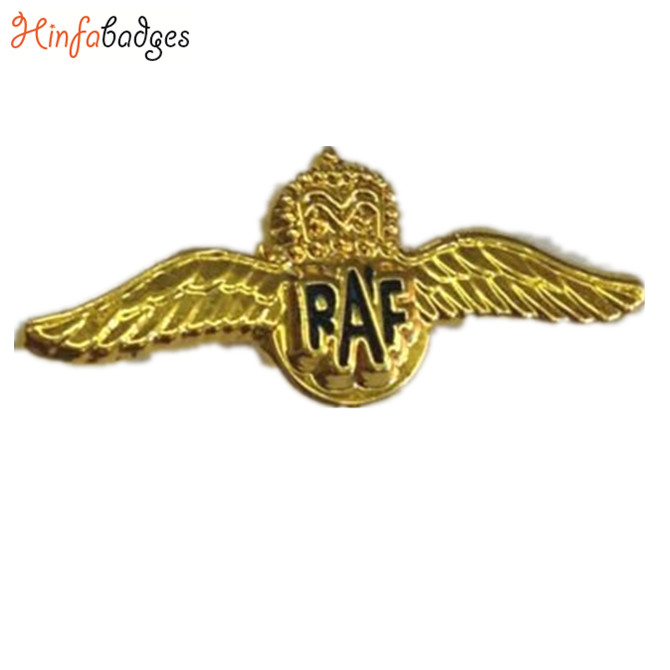 Custom Design Metal Pilot Wings Lapel Pins Royal Air Force RAF Pilot Sweetheart Wings Small Pin Badge