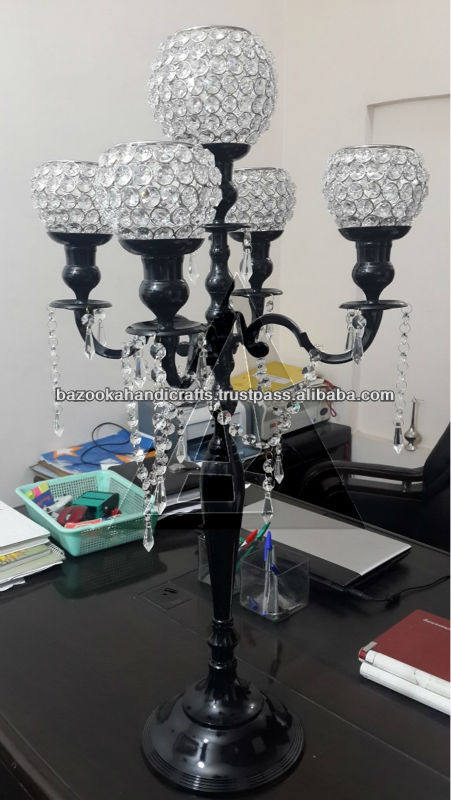 Crystal Candelabra, Black Candelabra, Crystal Wedding Table Candelabra