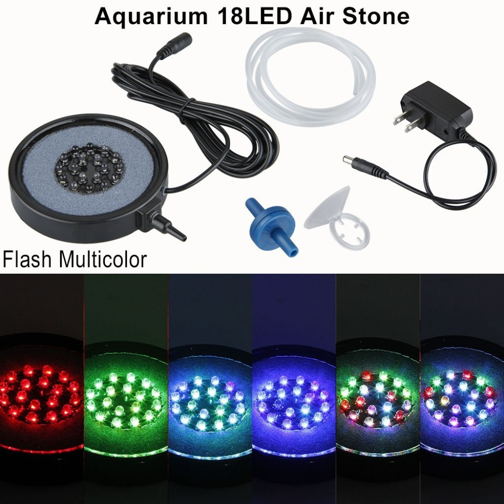 18LED Dompelpompen Spotlight Aquarium Aquarium Licht Air Stone Bubble voor Water Aquarium Vijver Pool Tank
