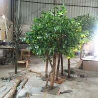 6 feet Artificial Silk Ficus Tree & banyan tree with Natural Wood Trunks