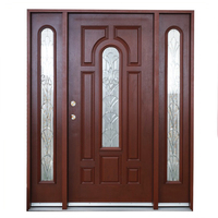 FRP GRP SMC Wooden Double Security Door Design, Front Solid Wood Exterior Door