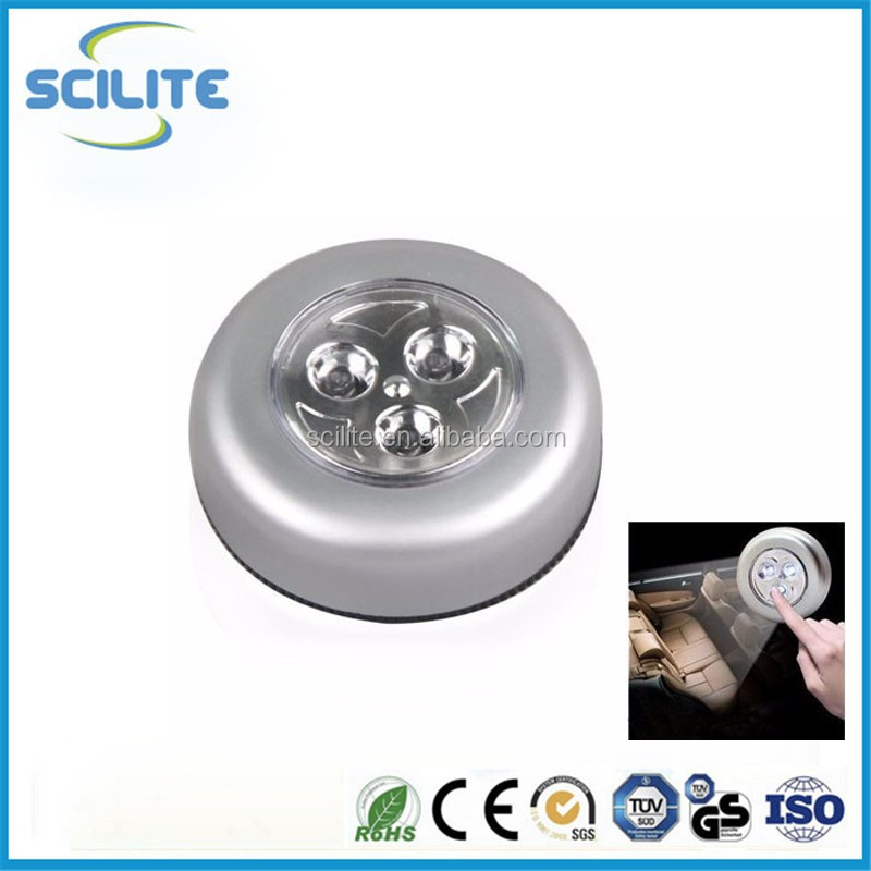 Mini 3 LED Tap Cordless Touch Lamp Light Stick On Wall Closet Night Lights