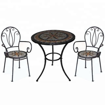 Mosaic Art Metal Frame Table And Two Chairs Circle Outdoor Furniture Garden Set
