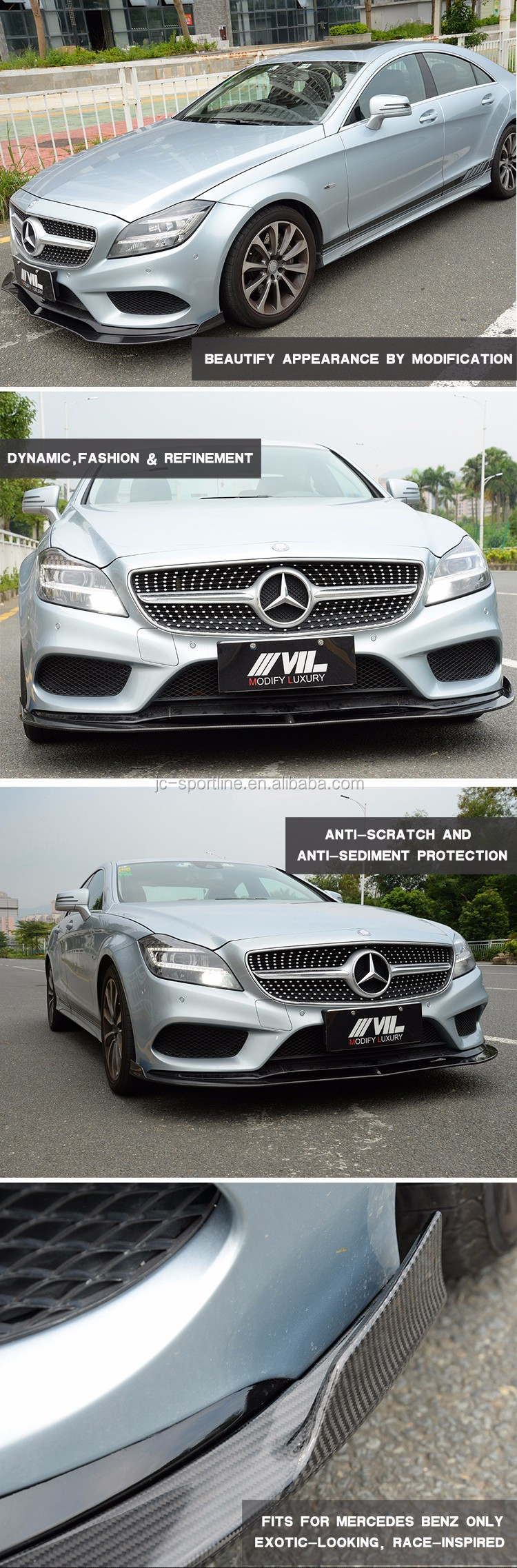 Customized Carbon Car Front Lip for Mercedes W218 4Matic Sedan 4-Door