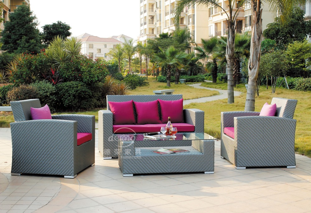 China Garden Wicker Furniture Supplier Outdoor Furniture Exotic Sofa Set  Flat Rattan Sofa Patio Sofa Sets