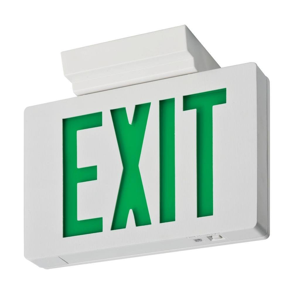 Lithonia Lighting LE S W 1 G EL N 2W LED Exit Sign, White