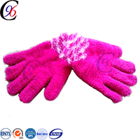 Chengxing custom cheap wholesale fashion knitted printed pattern jacquard funny acrylic fleece personalized winter gloves