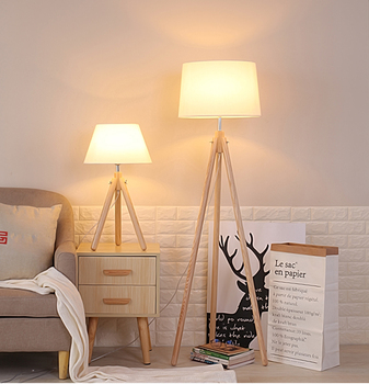 Nordic Wooden Tripod Hotel Cafe Decor Indoor Lights Led Floor Lamp Dimmable Standing Color Changing