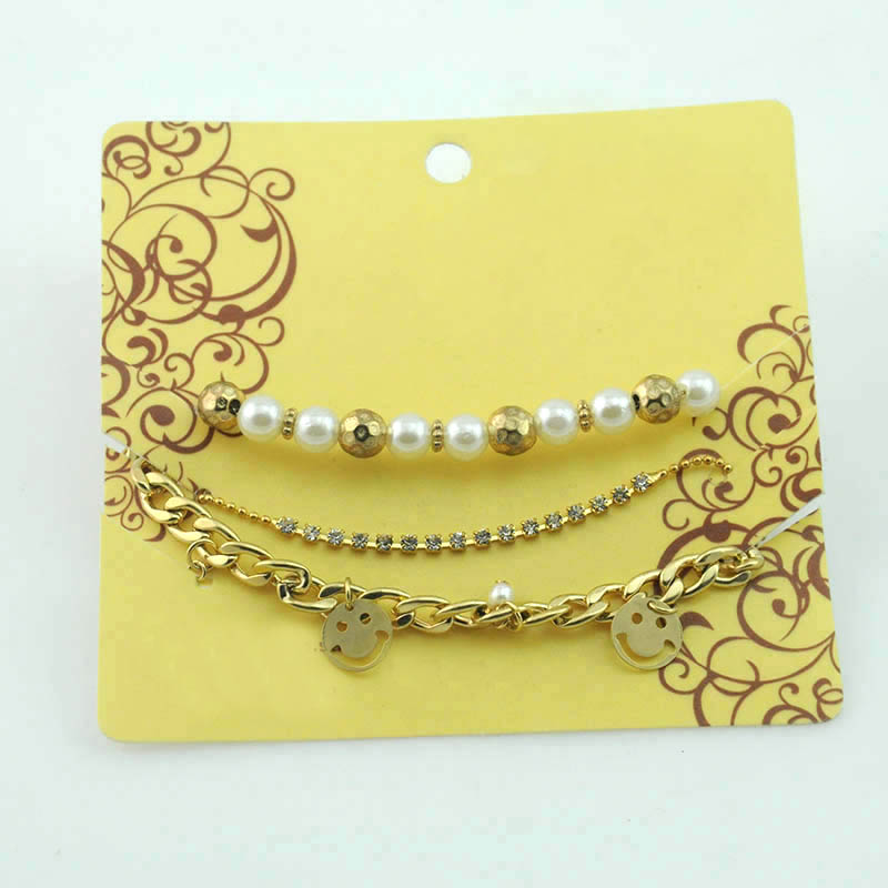 Newest diamond crystal pearl gold beads smile face pendant alloy chain bracelet