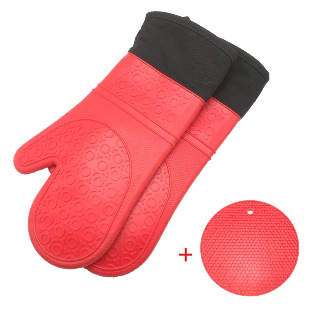 AMOUP Extra Long Silicone Oven Mitts and Potholders, Heat Resistant Baking Gloves with Quilted Cotton Liner Red