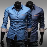 Wholesale Men Fashion Casual Long Sleeve Slim Fit Shirts Stylish Dress