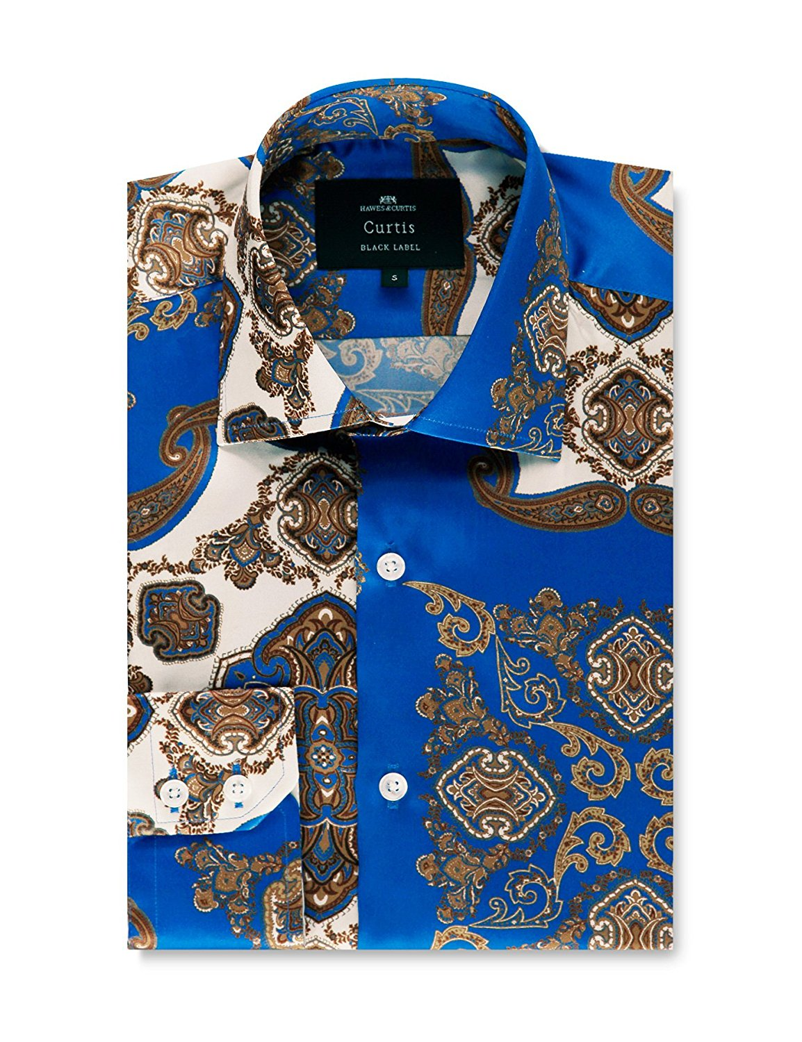 856b60baf936a Get Quotations · HAWES   CURTIS Mens Paisley Print Slim Fit Silk Shirt –  100% Silk