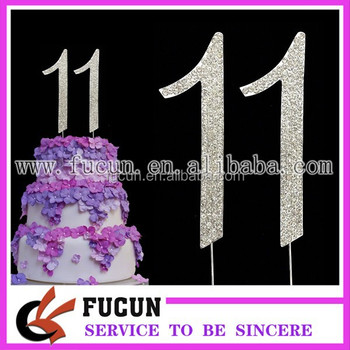 SILVER NUMBER 11 BIRTHDAY CAKE PICK TOPPER DECORATION