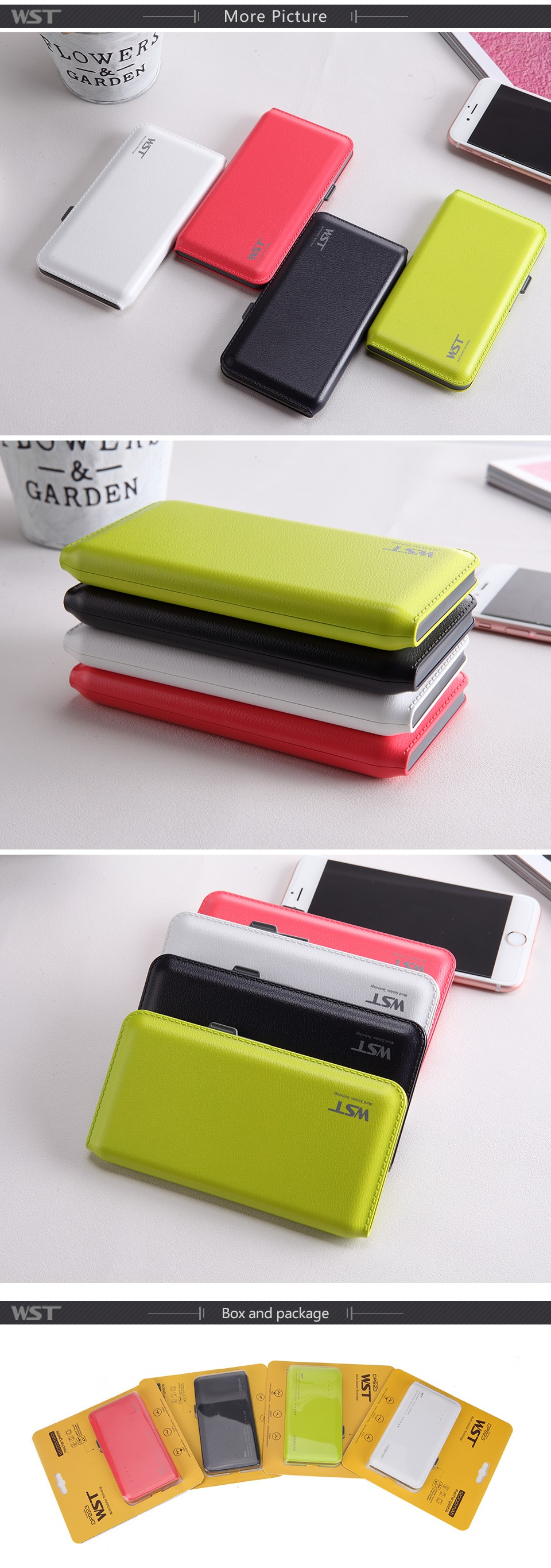 Easy carry dual usb port built-in cable leather power bank 12000 mah