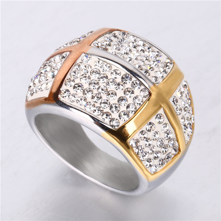 Hot on sale Fashion clay casting tailored diamonds ring titanium steel ring YSS359